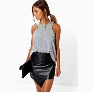 Boohoo Petite Asymmetric Pu Mini Skirt